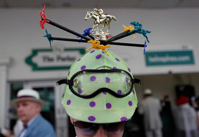 <p>Ricky Spanish of Des Moines, Iowa wears a hat before the 144th running of the Kentucky Derby horse race at Churchill Downs Saturday, May 5, 2018, in Louisville, Ky. (Photo: John Minchillo/AP) </p>