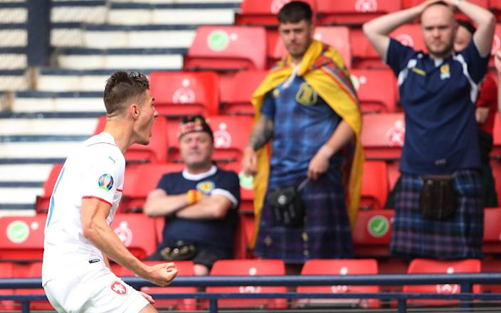 Schick celebrates in front of Scotland fans - GETTY IMAGES