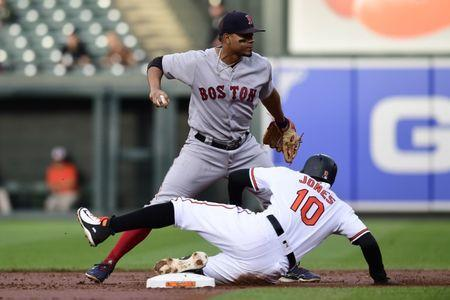 Jun 11, 2018; Baltimore, MD, USA; Baltimore Orioles center fielder Adam Jones (10) slides to break up Boston Red Sox shortstop Xander Bogaerts (2) double play attempt in the first inning at Oriole Park at Camden Yards. Mandatory Credit: Tommy Gilligan-USA TODAY Sports