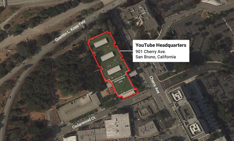 YouTube HQ Map San Bruno shooting