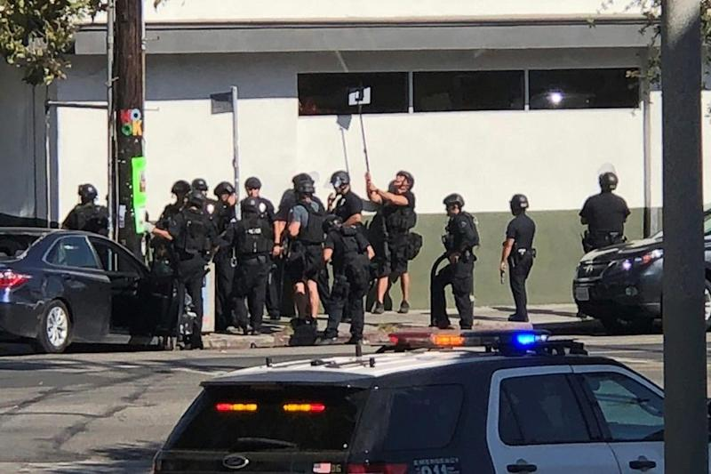 The scene outside a Trader Joe's in L.A.'s Silver Lake neighborhood after a gunman took hostages there on Saturday, according to police.
