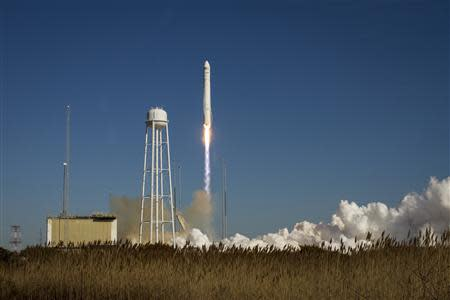 An Orbital Sciences Corporation Antares rocket is seen as it launches from Pad-0A at NASA's Wallops Flight Facility at Wallops Island