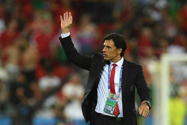 Wales' coach Chris Coleman reacts at the end of the Euro 2016 semi-final football match between Portugal and Wales at the Parc Olympique Lyonnais stadium in Décines-Charpieu, near Lyon, on July 6, 2016 (AFP Photo/Paull Ellis)