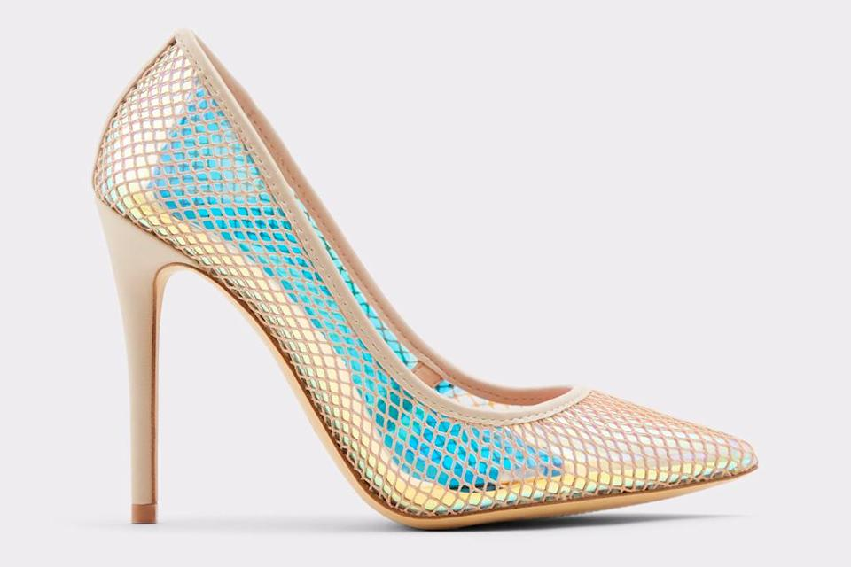iridescent heels, pumps, pointed-toe, aldo