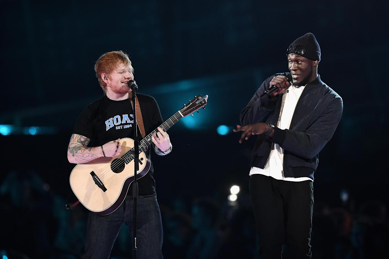 LONDON, ENGLAND - FEBRUARY 22:  (EDITORIAL USE ONLY)  Ed Sheeran and Stormzy perform on stage at The BRIT Awards 2017 at The O2 Arena on February 22, 2017 in London, England.  (Photo by Gareth Cattermole/Getty Images)