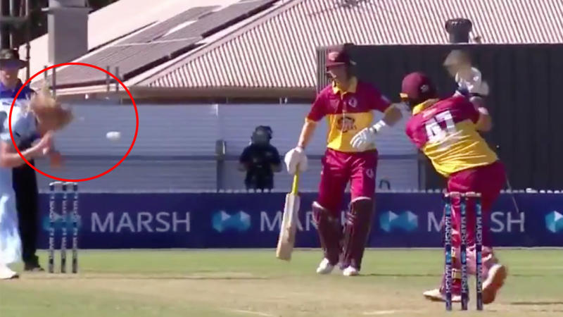 The NSW seamer survived a scare when he got his hand in the way of a ball rocketing back towards his head. (Image: Fox Sports)