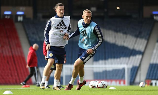 """<span class=""""element-image__caption"""">Callum McGregor, who is in contention to start against Slovakia, and Darren Fletcher in training at Hampden.</span> <span class=""""element-image__credit"""">Photograph: Ian MacNicol/Getty Images</span>"""
