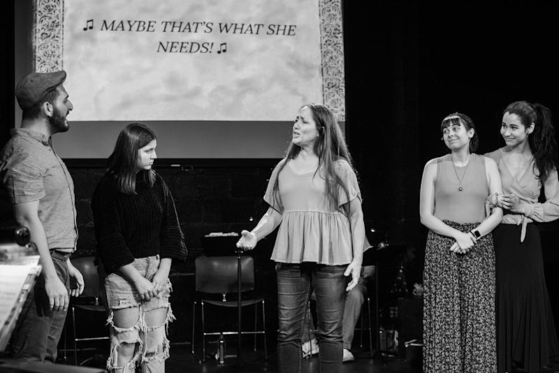 """Christopher Isolano, Catalene Sacchetti-Manganelli, Tamra Hayden and April Lavalle in the ASL / English musical """"Stepchild."""""""