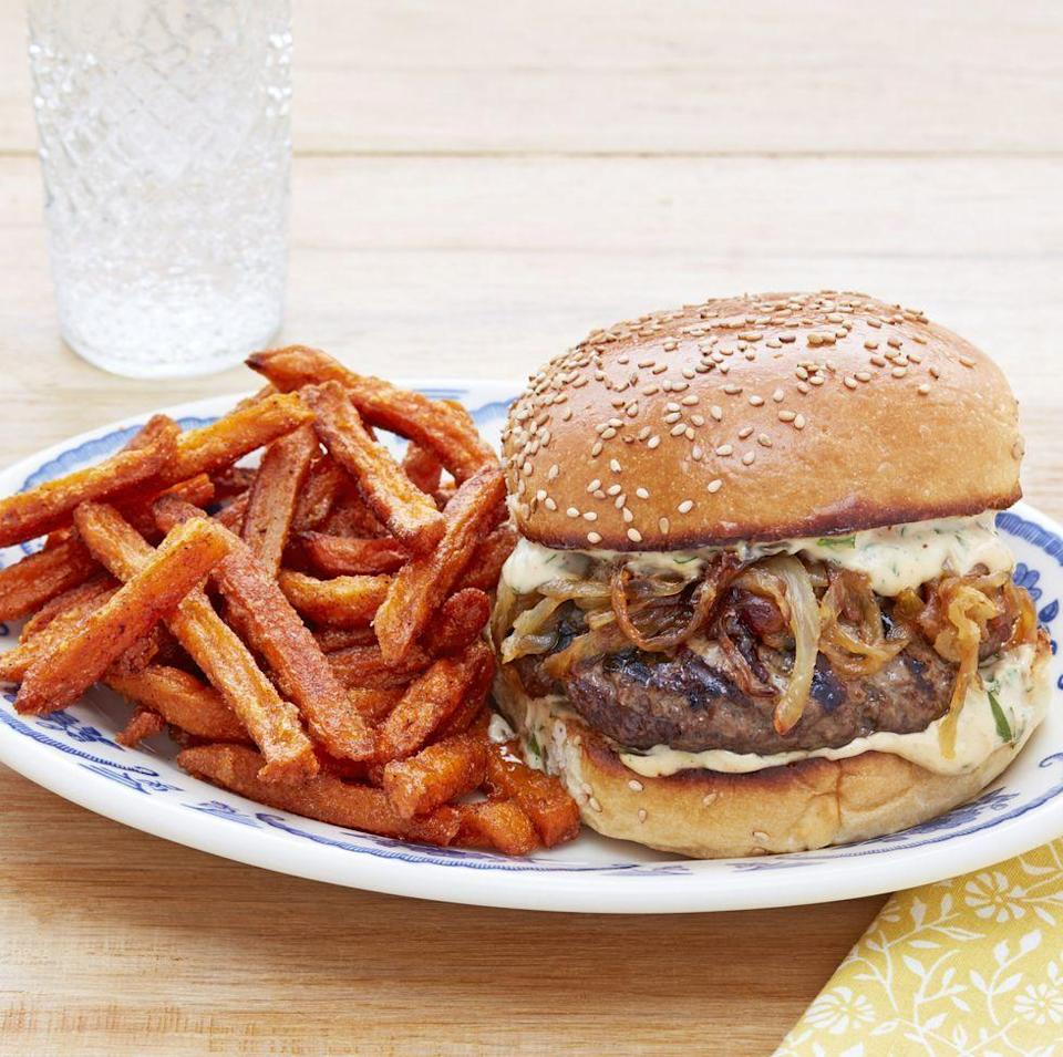 """<p>Serve dad an over-the-top burger this year—he's deserves it! This one Is loaded with a creamy, savory sauce and a heaping pile of caramelized onions. </p><p><strong><a href=""""https://www.thepioneerwoman.com/food-cooking/recipes/a32627401/salisbury-steak-burgers-with-sweet-potato-fries-recipe/"""" rel=""""nofollow noopener"""" target=""""_blank"""" data-ylk=""""slk:Get Ree's recipe."""" class=""""link rapid-noclick-resp"""">Get Ree's recipe. </a></strong></p><p><a class=""""link rapid-noclick-resp"""" href=""""https://go.redirectingat.com?id=74968X1596630&url=https%3A%2F%2Fwww.walmart.com%2Fsearch%2F%3Fquery%3Dpioneer%2Bwoman%2Bmixing%2Bbowls&sref=https%3A%2F%2Fwww.thepioneerwoman.com%2Ffood-cooking%2Fmeals-menus%2Fg36109352%2Ffathers-day-dinner-recipes%2F"""" rel=""""nofollow noopener"""" target=""""_blank"""" data-ylk=""""slk:SHOP MIXING BOWLS"""">SHOP MIXING BOWLS</a></p>"""
