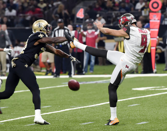 <p>New Orleans Saints defensive back Justin Hardee blocks a punt by Tampa Bay Buccaneers punter Bryan Anger (9), which Hardee recovered for a touchdown in the first half of an NFL football game in New Orleans, Sunday, Nov. 5, 2017. (AP Photo/Bill Feig) </p>
