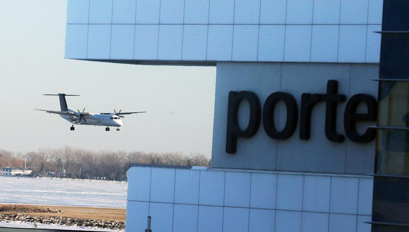 A Porter Airlines flight arrives into Toronto Islands Airport (Colin McConnell/Toronto Star via Getty Images)