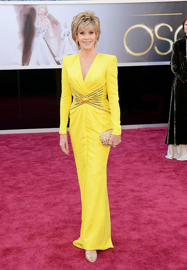 Jane Fonda arrives at the Oscars in Hollywood, California, on February 24, 2013.