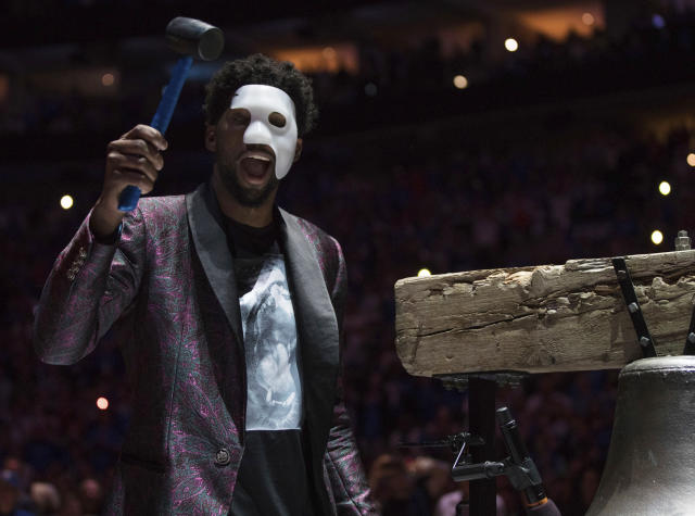 Whenever he does return, Joel Embiid will not be wearing this mask. (AP)