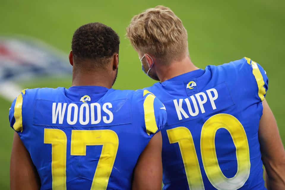Robert Woods #17 of the Los Angeles Rams and Cooper Kupp #10 of the Los Angeles Rams