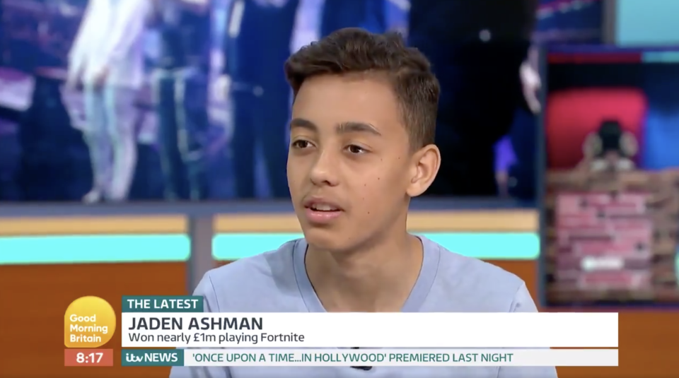 Jaden Ashman won £900k after coming second in the Fortnite World Cup Finals and has now been offered a £50k a year contract (ITV)