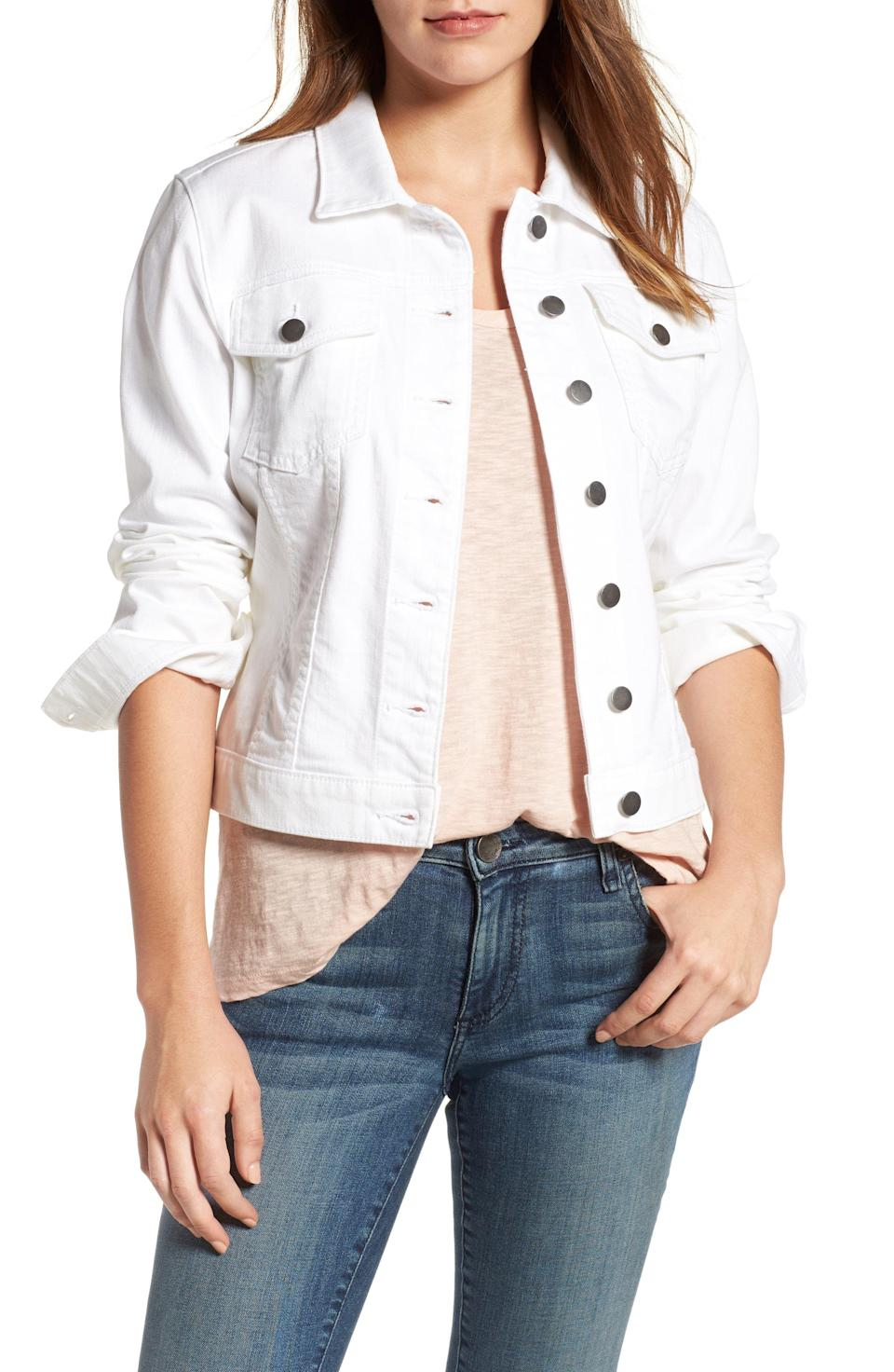 """<p><strong>KUT FROM THE KLOTH</strong></p><p>nordstrom.com</p><p><strong>$79.00</strong></p><p><a href=""""https://go.redirectingat.com?id=74968X1596630&url=https%3A%2F%2Fshop.nordstrom.com%2Fs%2Fkut-from-the-kloth-helena-denim-jacket-regular-petite%2F3922204&sref=https%3A%2F%2Fwww.prevention.com%2Fbeauty%2Fstyle%2Fg37148346%2Fbest-jean-jackets-for-women%2F"""" rel=""""nofollow noopener"""" target=""""_blank"""" data-ylk=""""slk:Shop Now"""" class=""""link rapid-noclick-resp"""">Shop Now</a></p><p>A white denim jacket will take you through the final days of summer in style. This one is styled with <strong>trendy detailing, including chest flap pockets and shank-style buttons</strong>. It'll look great paired with classic blue jeans and <a href=""""https://www.prevention.com/beauty/style/g36040203/comfortable-wedge-sandals/"""" rel=""""nofollow noopener"""" target=""""_blank"""" data-ylk=""""slk:sandals"""" class=""""link rapid-noclick-resp"""">sandals</a>. </p>"""