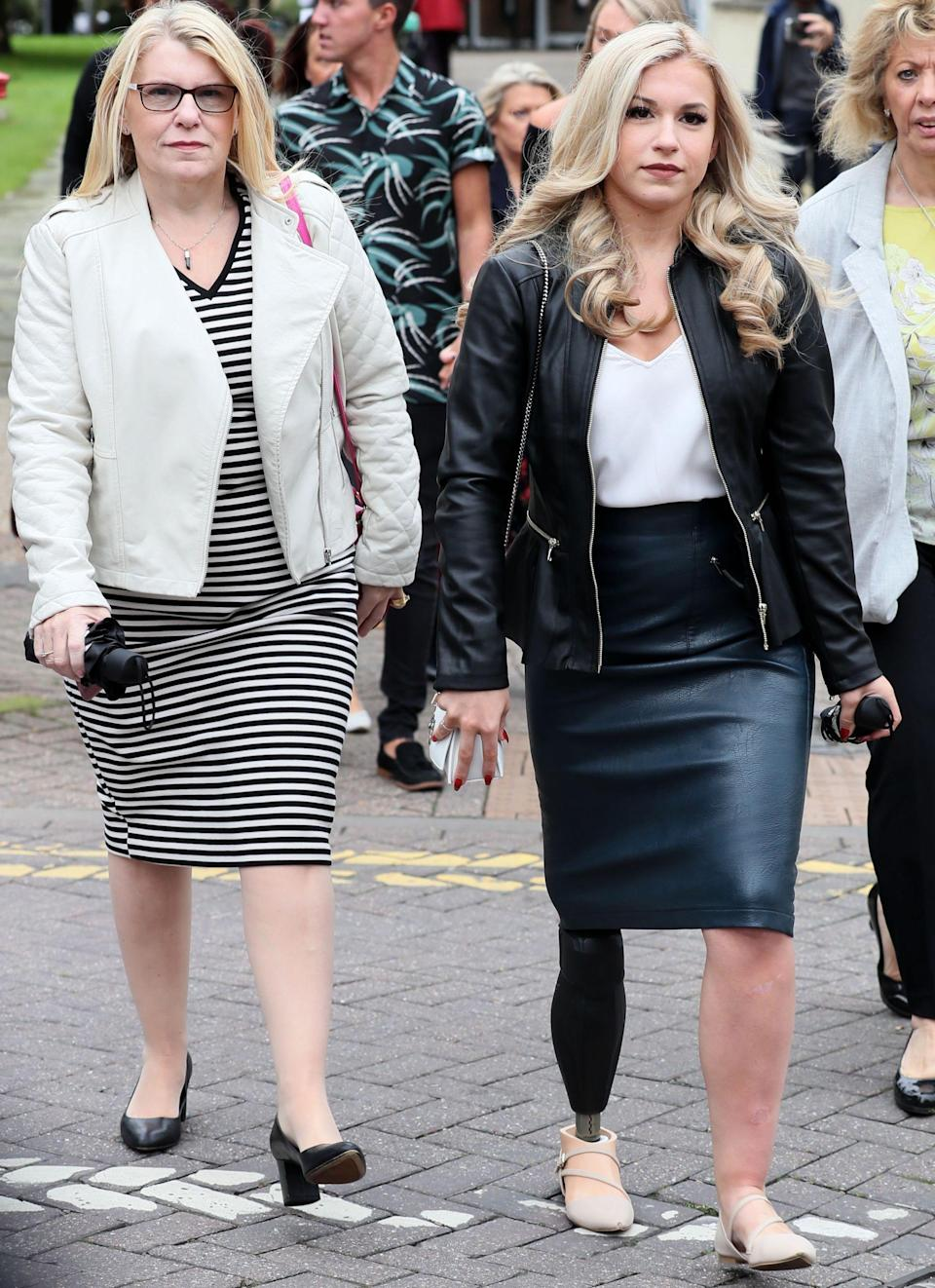 Vicky Balch (right), pictured with her mother Karen in 2016, needed a leg amputation after the theme park accident. (PA)w