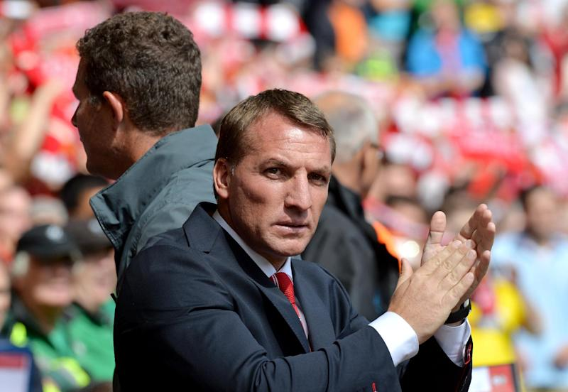 Liverpool manager Brendan Rodgers pictured before the start of the English Premier League match against Southampton at Anfield stadium in Liverpool, northwest England, on August 17, 2014