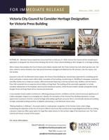 Victoria Press Building a Heritage Building? (CNW Group/Merchant House Capital)
