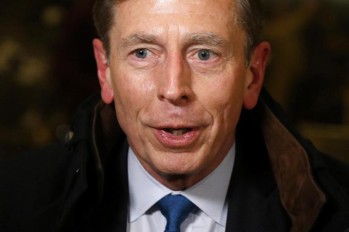 Former CIA director David Petraeus speaks to the media after a meeting with U.S. President elect Donald Trump at Trump Tower New York, U.S., November 28, 2016. REUTERS/Lucas Jackson
