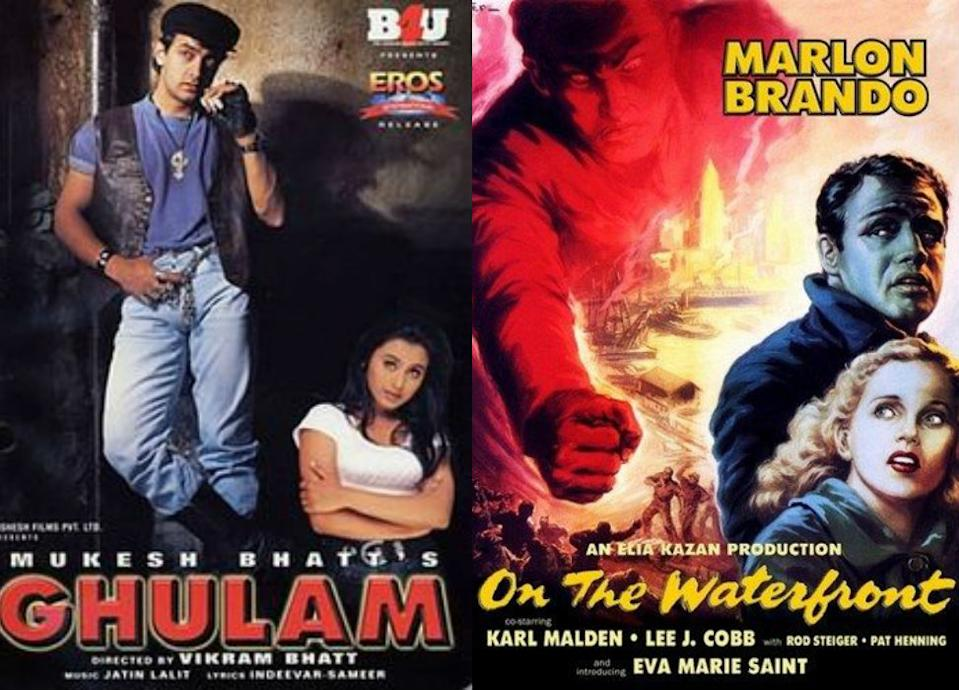 Aamir Khan essayed the role of Marlon Brando, from the movie On the Waterfront, in Ghulam. Both the movies have a similar plot line of an amateur boxer runs errands for a local gangster but revolts against him after the gangster kills his friend and his conscience is awakened. Ghulam was a super hit film when it came out, while On the Waterfront won eight Oscars, including one for Best Actor, Supporting Actress, Director and Picture. <br>
