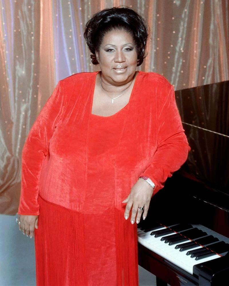 Aretha Franklin Wears Rose Gold Gown in Third Outfit Change for Last