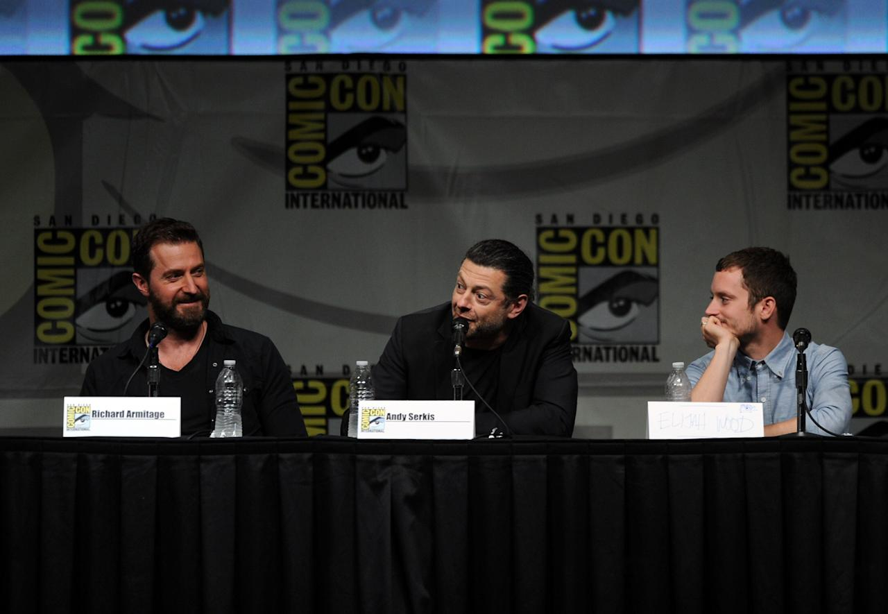 "SAN DIEGO, CA - JULY 14:  (L-R) Actors Richard Armitage, Andy Serkis, and Elijah Wood speak at Warner Bros. Pictures and Legendary Pictures Preview of ""The Hobbit: An Unexpected Journey"" during Comic-Con International 2012 at San Diego Convention Center on July 14, 2012 in San Diego, California.  (Photo by Kevin Winter/Getty Images)"