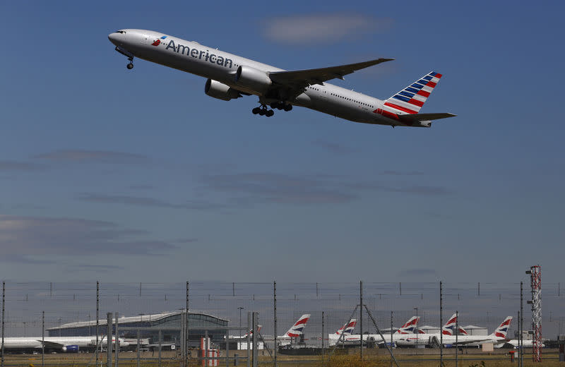 An American Airlines airplane takes off from Heathrow airport in London