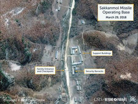 A Digital Globe satellite image taken on March 29, 2018 shows what the Washington, D.C.-based Center for Strategic and International Studies (CSIS) Beyond Parallel project reports is an undeclared missile operating base at Sakkanmol, North Korea and provided to Reuters on November 12, 2018. CSIS/Beyond Parallel/DigitalGlobe 2018/Handout via REUTERS