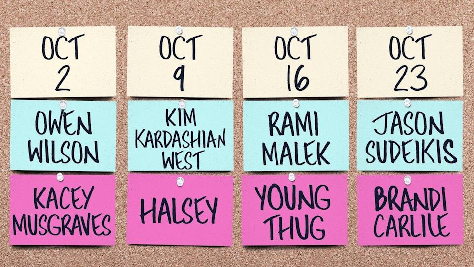 A cork board with the first four hosts and musical guests for Saturday Night Live season 47.