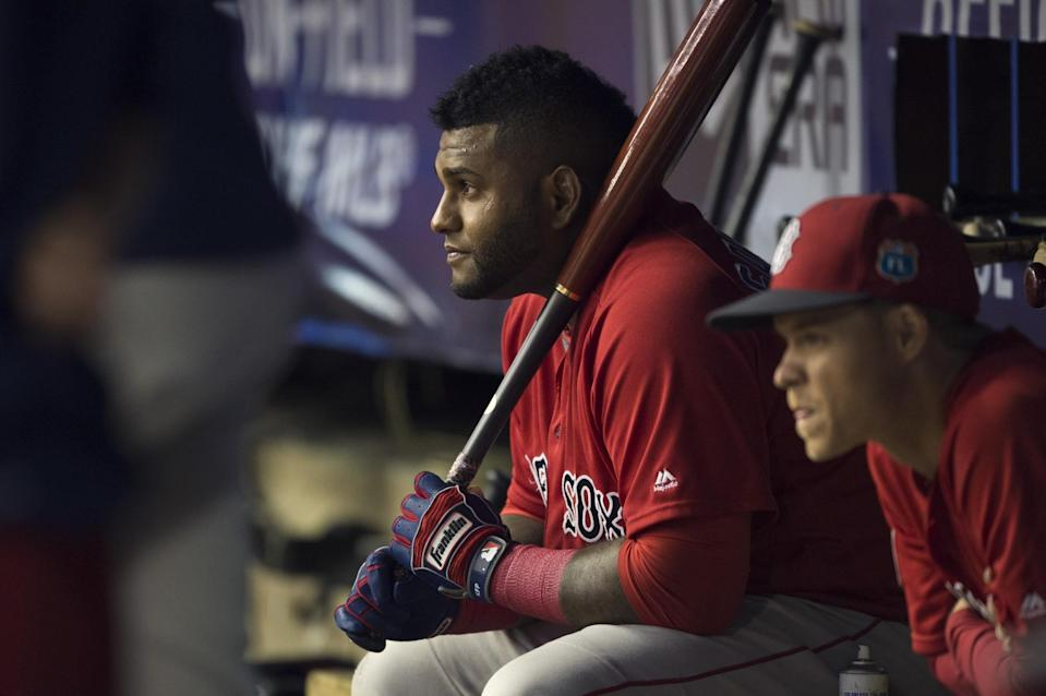 Pablo Sandoval #48 of the Boston Red Sox watches from the bench against the Toronto Blue Jays on April 1, 2016 at Olympic Stadium in Montreal, Quebec.