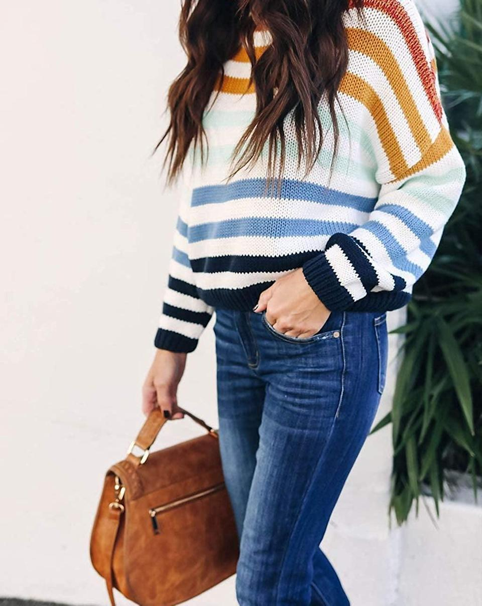 <p>This <span>Zesica Striped Sweater</span> ($26-$31) has been a bestseller for a couple of years now.</p>
