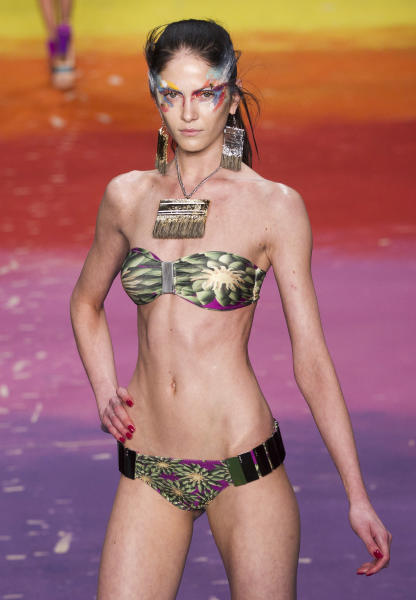 A model wears a creation by Triya summer collection during Fashion Rio in Rio de Janeiro, Brazil, Saturday, May 26, 2012. (AP Photo/Victor R. Caivano)