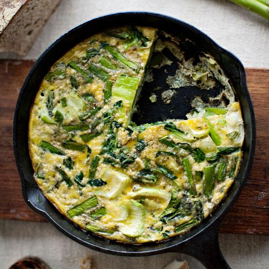 "<p>Get your weekend greens in at <a rel=""nofollow"" href=""http://www.foodandwine.com/slideshows/best-brunch-recipes"">brunch</a>. Cook the <a rel=""nofollow"" href=""http://www.foodandwine.com/slideshows/eggs"">eggs</a> on the stove or in the oven-but be sure to use moderate heat so they stay jiggly and delicious.</p>"