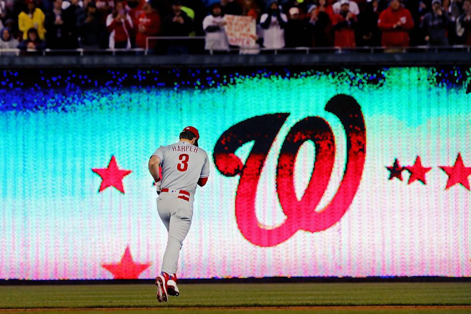 WASHINGTON, DC - APRIL 02:  Bryce Harper #3 of the Philadelphia Phillies takes the field during the game between the Philadelphia Phillies and the Washington Nationals at Nationals Park on Tuesday, April 2, 2019 in Washington, District of Columbia. (Photo by Alex Trautwig/MLB Photos via Getty Images)