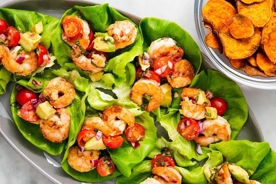 """<p>Lettuce wraps are one of the best ways to eat low-carb. </p><p>Get the recipe from <a href=""""https://www.delish.com/cooking/recipe-ideas/a25564220/avocado-shrimp-salad-lettuce-wraps-recipe/"""" rel=""""nofollow noopener"""" target=""""_blank"""" data-ylk=""""slk:Delish"""" class=""""link rapid-noclick-resp"""">Delish</a>.</p>"""