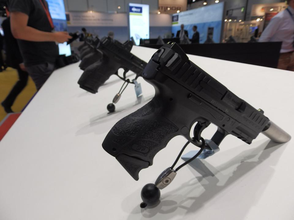 Weapons on display at the 2017 DSEI arms fair (Lizzie Dearden)