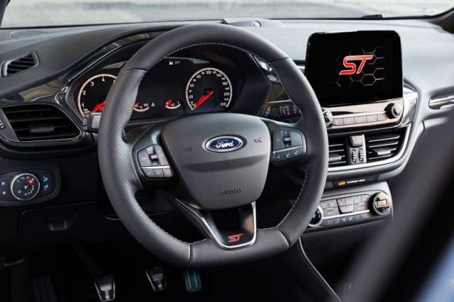 Blue 2018 Ford Fiesta ST steering wheel and dashboard