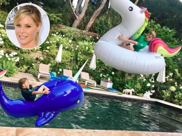"<p><em>Modern Family</em>'s <a href=""https://www.yahoo.com/celebrity/tagged/julie-bowen/"" data-ylk=""slk:Julie Bowen"" class=""link rapid-noclick-resp"">Julie Bowen</a> tells so many stories about her three sons that this scene doesn't surprise us in the least. ""Unicorn vs Narwhal,"" she captioned this close call snapped on May 11. (Photo: <a href=""https://www.instagram.com/p/BT-hc9vhrC-/"" rel=""nofollow noopener"" target=""_blank"" data-ylk=""slk:Julie Bowen via Instagram"" class=""link rapid-noclick-resp"">Julie Bowen via Instagram</a>) </p>"