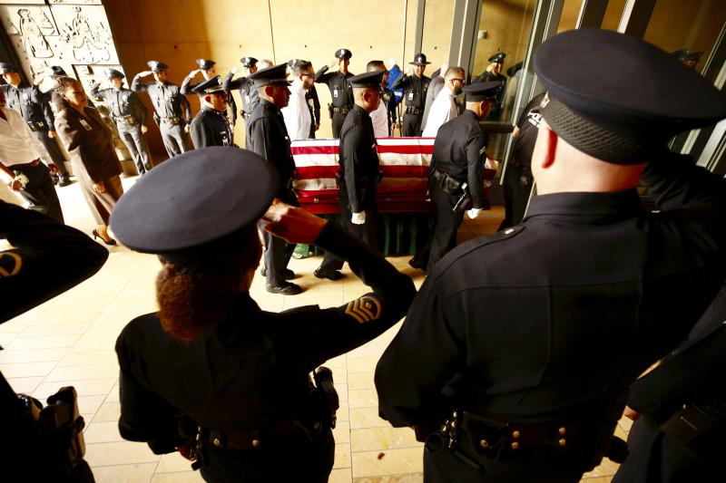 A funeral mass was held for slain Los Angeles Police officer Juan Diaz at the Cathedral of Our Lady of the Angels in Los Angeles, Calif., on Aug. 12, 2019. (Al Seib/Los Angeles Times via AP)