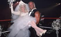 "<p>In the mid-'80s, Dolly had seen a tabloid story claiming that she had ""fallen in love"" with pro-wrestler Hulk Hogan. Dolly poked fun at the rumors with spoof song ""Headlock on My Heart,"" and a fake wedding on her variety show. It was all in good fun though, Dolly has been happily <a href=""https://www.goodhousekeeping.com/life/relationships/news/a31886/dolly-parton-happy-marriage-secrets/"" rel=""nofollow noopener"" target=""_blank"" data-ylk=""slk:married to Carl Dean since 1966"" class=""link rapid-noclick-resp"">married to Carl Dean since 1966</a>.</p>"