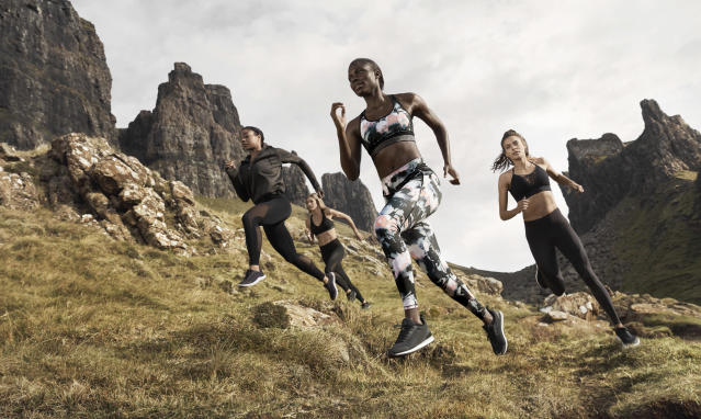 Models show off clothing from the H&M Conscious Sport Collection. (Photo: courtesy of H&M)