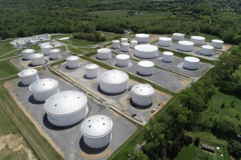 FILE PHOTO: Holding tanks are seen in an aerial photograph at Colonial Pipeline's Dorsey Junction Station