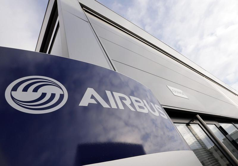 Airbus's logo is pictured at Airbus headquarters in Toulouse