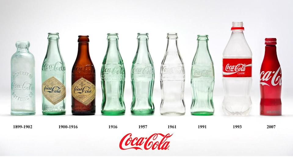 A lineup of nine Coca-Cola bottles, from 1899 to 2007.