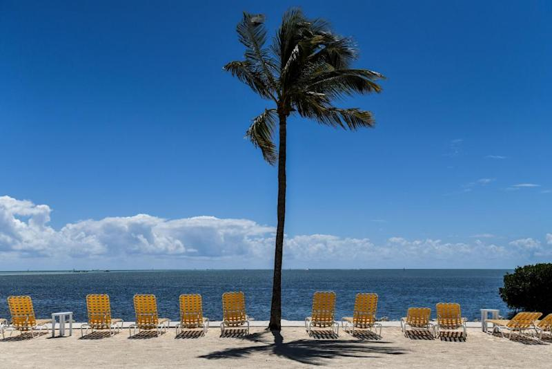 Empty lounge chairs line a deserted beach at a resort in Windley Key on 22 March.