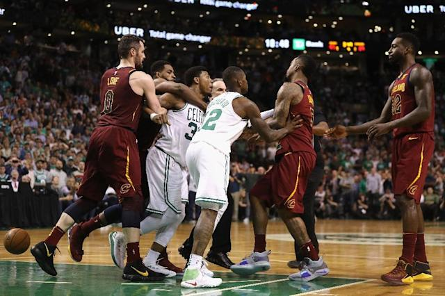 Smart had to be restrained after Smith pushed his Celtics teammate Horford (AFP Photo/Maddie Meyer)