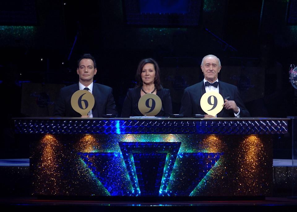 Craig Revel Horwood, Arlene Phillips and Len Goodman during the final dress rehearsal for the first ever tour of Strictly Come Dancing Live. (Photo by Michael Boyd/PA Images via Getty Images)