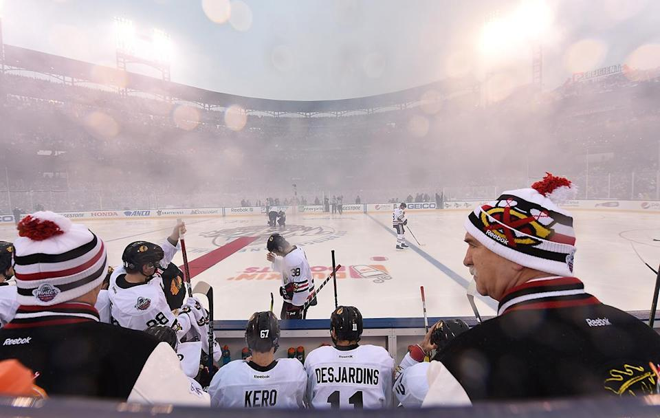 <p>ST LOUIS, MO – JANUARY 02: Head coach Joel Quenneville of the Chicago Blackhawks, right, looks on from behind the bench prior to the 2017 Bridgestone NHL Winter Classic at Busch Stadium on January 2, 2017 in St Louis, Missouri. (Photo by Brian Babineau/NHLI via Getty Images) </p>
