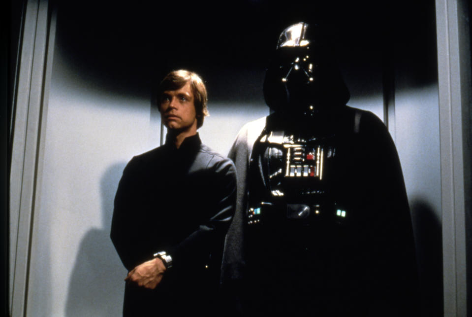 Mark Hamill and David Prowse on the set of 'Star Wars: Episode VI - Return of the Jedi'. (Photo by Sunset Boulevard/Corbis via Getty Images)